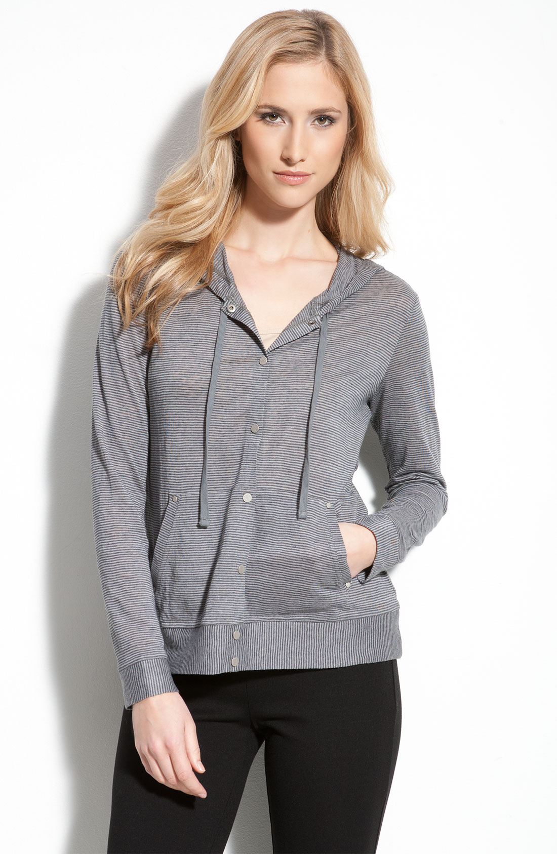 Eileen Fisher Stripe Linen Hoodie In Blue Moon Lyst