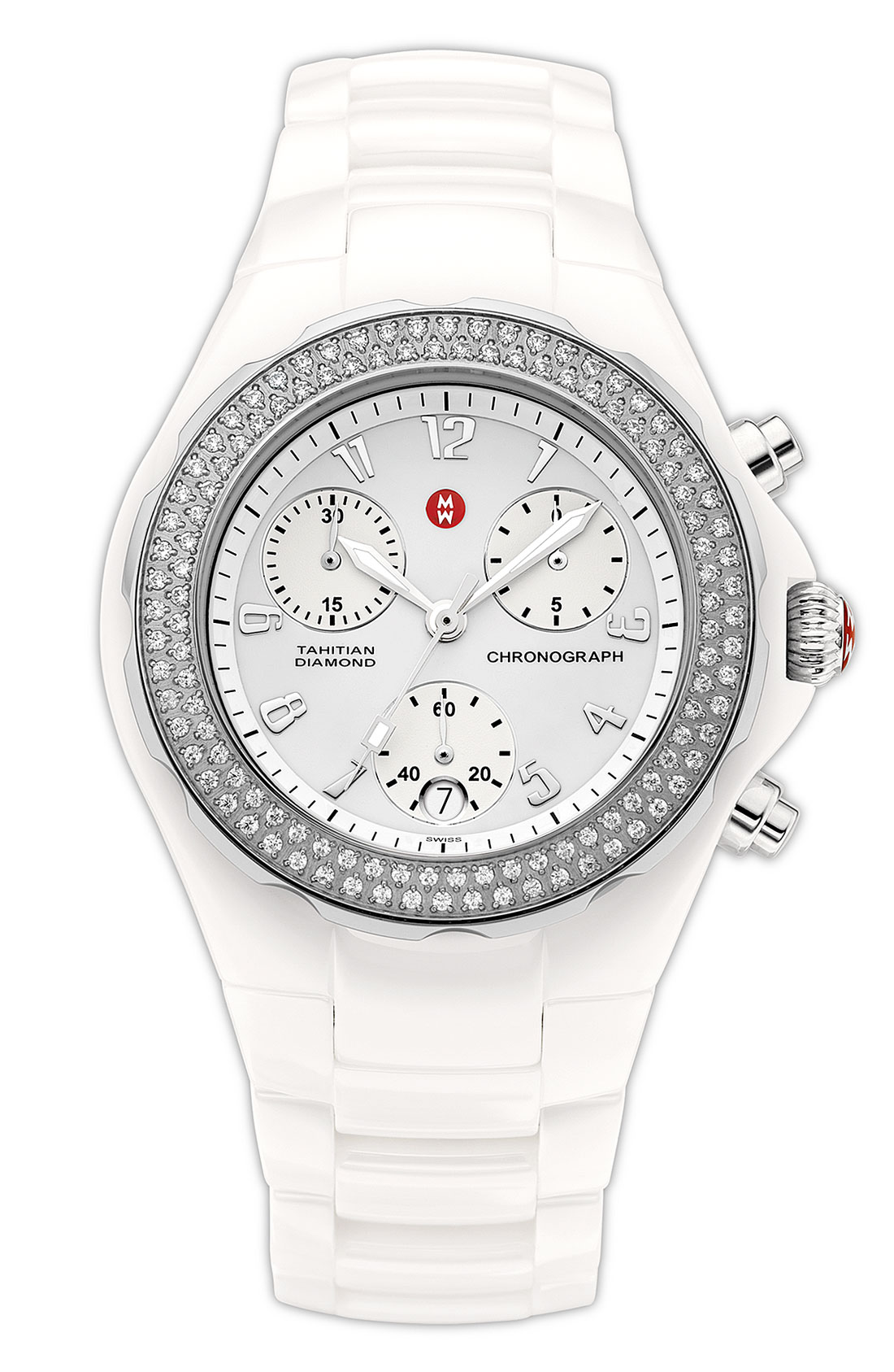 Michele Tahitian Large Ceramic Diamond Watch In White Lyst