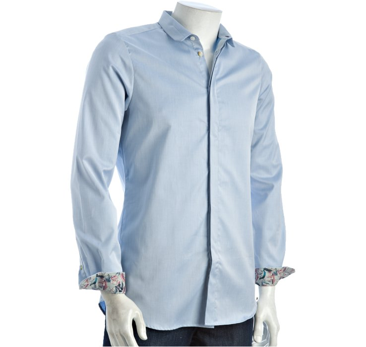 Paul Smith Ice Blue Cotton Squared Collar Hidden Placket