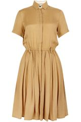 Antipodium Gold Short Sleeve Silk Shirt Dress - Lyst
