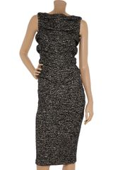 Jil Sander Textured Panel Woven Dress - Lyst