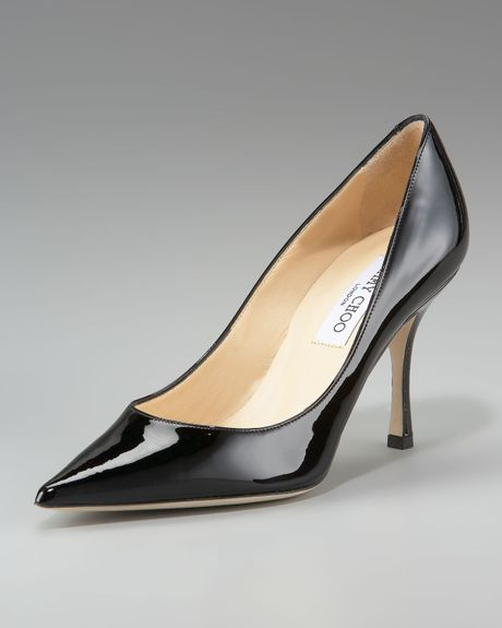 Jimmy Choo Patent Point Toe Pumps in Black