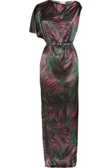 Lanvin Printed Silk-satin Asymmetric Gown - Lyst