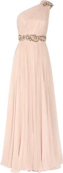 Marchesa Embellished One-shoulder Silk-chiffon Gown - Lyst