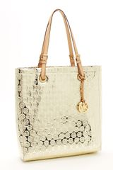 Michael by Michael Kors Monogram Mirror Metallic North South Tote, Gold - Lyst