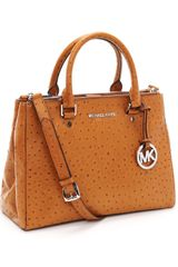 Michael by Michael Kors Medium Bedford Dressy Ostrich Embossed Tote - Lyst