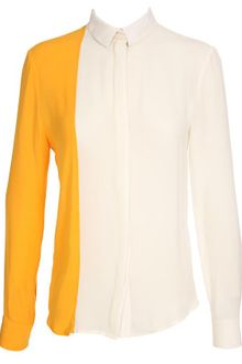 Pedro Lourenco Two Tone Silk Crepe Blouse - Lyst