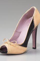 RED Valentino Two-tone Peep-toe Pump - Lyst