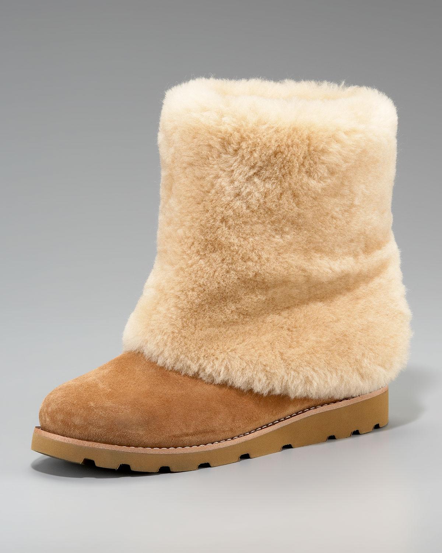 f90ff03f54c UGG Chestnut Maylin Shearling Cuffed Ankle Boot in Brown - Lyst