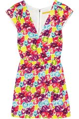 Alice + Olivia Stella Floral-print Stretch-silk Playsuit