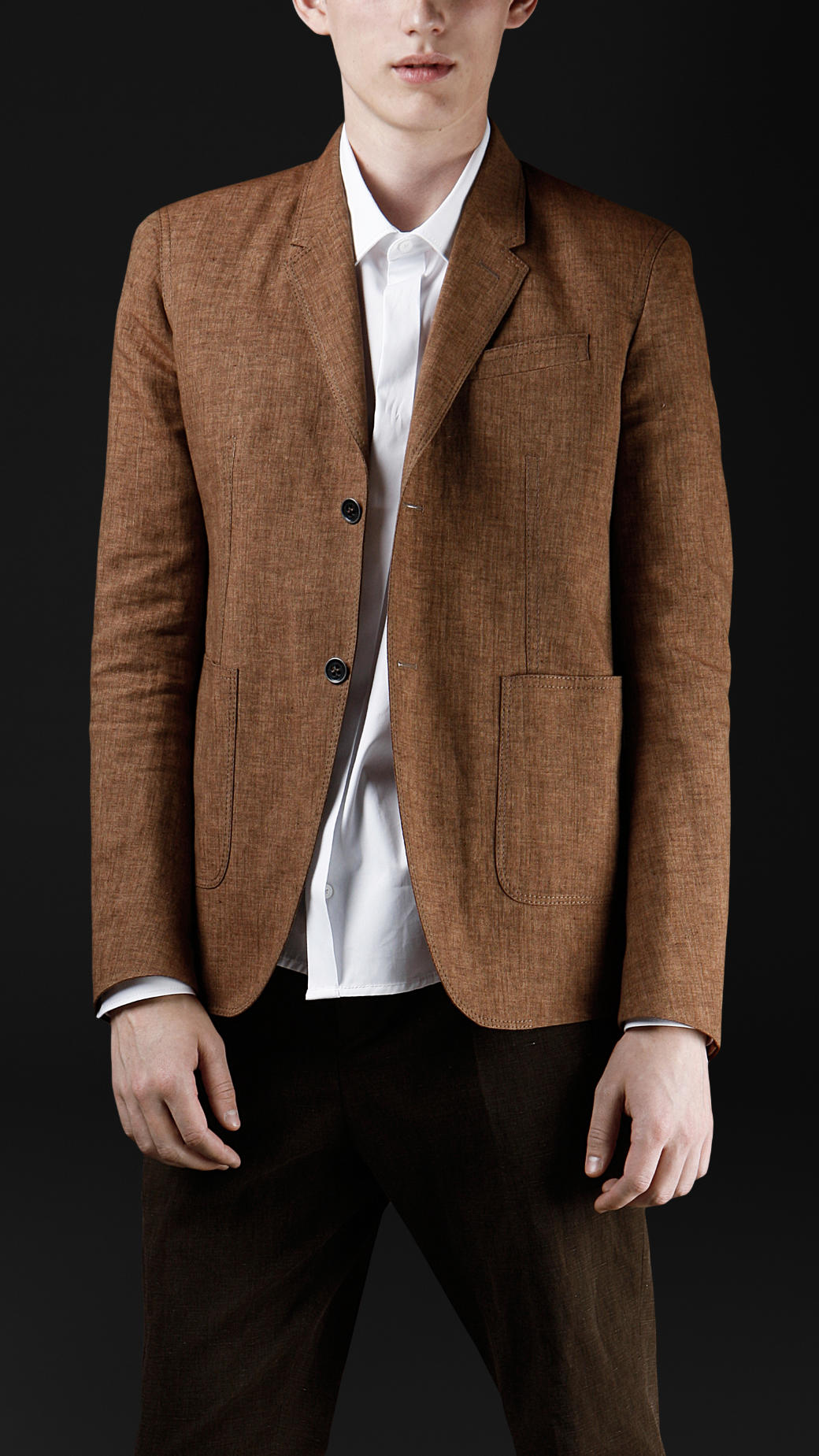 dc6b722a2e7c Burberry Prorsum Tailored Workwear Linen Jacket in Brown for Men - Lyst