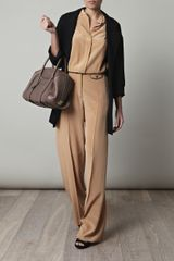 Chloé Silk Wideleg Trousers in Beige (nude) - Lyst