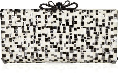 Christian Louboutin Cleo Sequined Satin Clutch in Black (cream) - Lyst