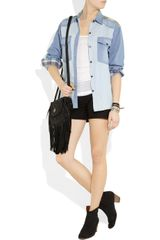 Etoile Isabel Marant Guan Patchwork Denim and Plaid Shirt in Blue (denim) - Lyst
