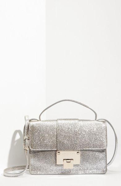 Jimmy Choo Rebel Mini Glitter Leather Crossbody Bag in Silver (champagne) - Lyst