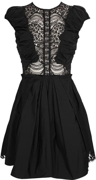 Nina Ricci Taffeta Dress with Lace Inserts - Lyst