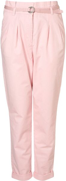 Topshop High Waisted Chino in Pink - Lyst