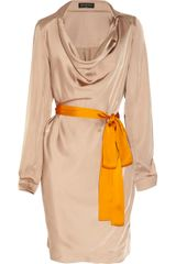 Vionnet Belted Satin Dress - Lyst