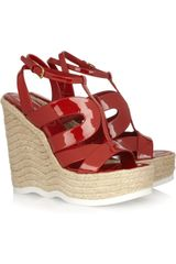 Yves Saint Laurent Saint Malo Patent-leather Wedge Sandals - Lyst