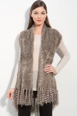 Alberto Makali Fringed Mixed Media Vest - Lyst