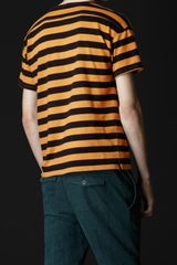 Burberry Prorsum Striped Crew Neck Tshirt in Orange for Men (bright larch) - Lyst