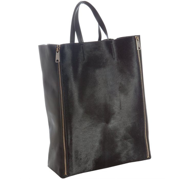 celine leather zipped tote with black lambskin