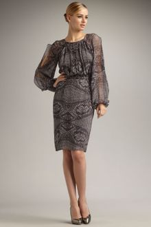 David Meister Snake-print Chiffon Dress - Lyst