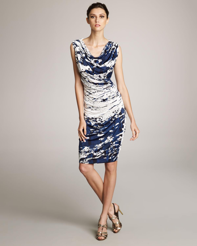 80fd0f9b2abb Lyst - ESCADA Splash-print Jersey Dress in Blue
