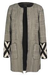 Fendi Lattice Woven Leather Overcoat in Black (black white) - Lyst