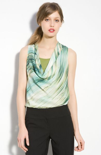 Halogen Sleeveless Drape Neck Blouse in Green (green pine print) - Lyst
