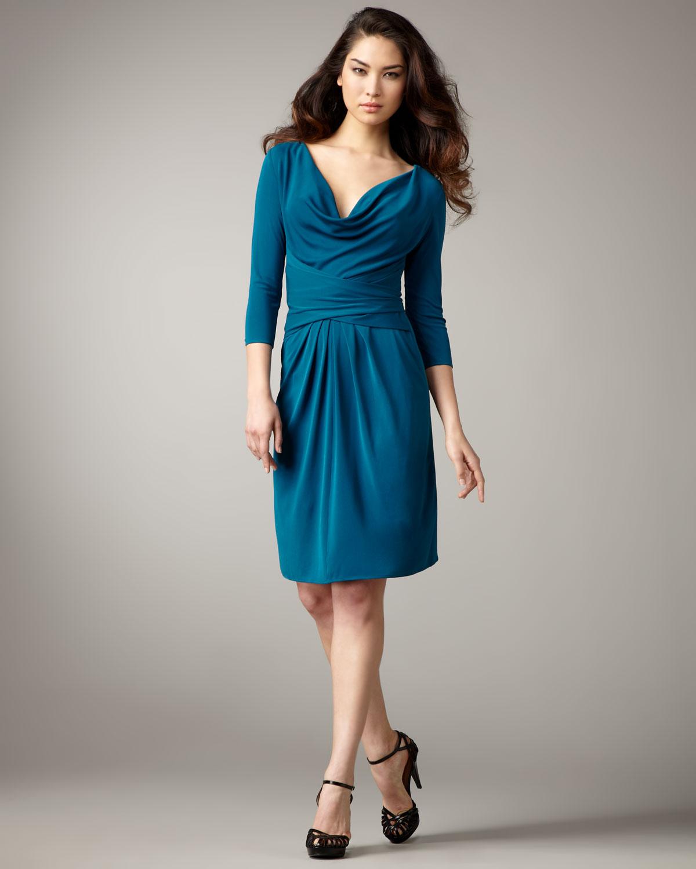 Cowl Dress: Issa Cowl-neck Silk Jersey Dress In Blue