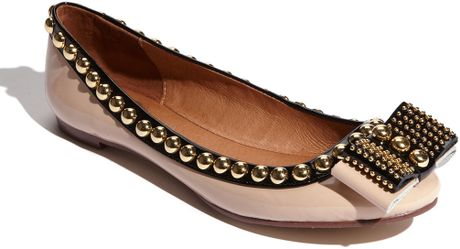 Jeffrey Campbell The Dauphine Flat in Nude Patent and Black in Beige (nude/ black patent) - Lyst