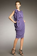 Lanvin Draped Half-belt Dress - Lyst