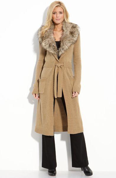 Michael Michael Kors Faux Fur Trim Sweater Coat In Beige
