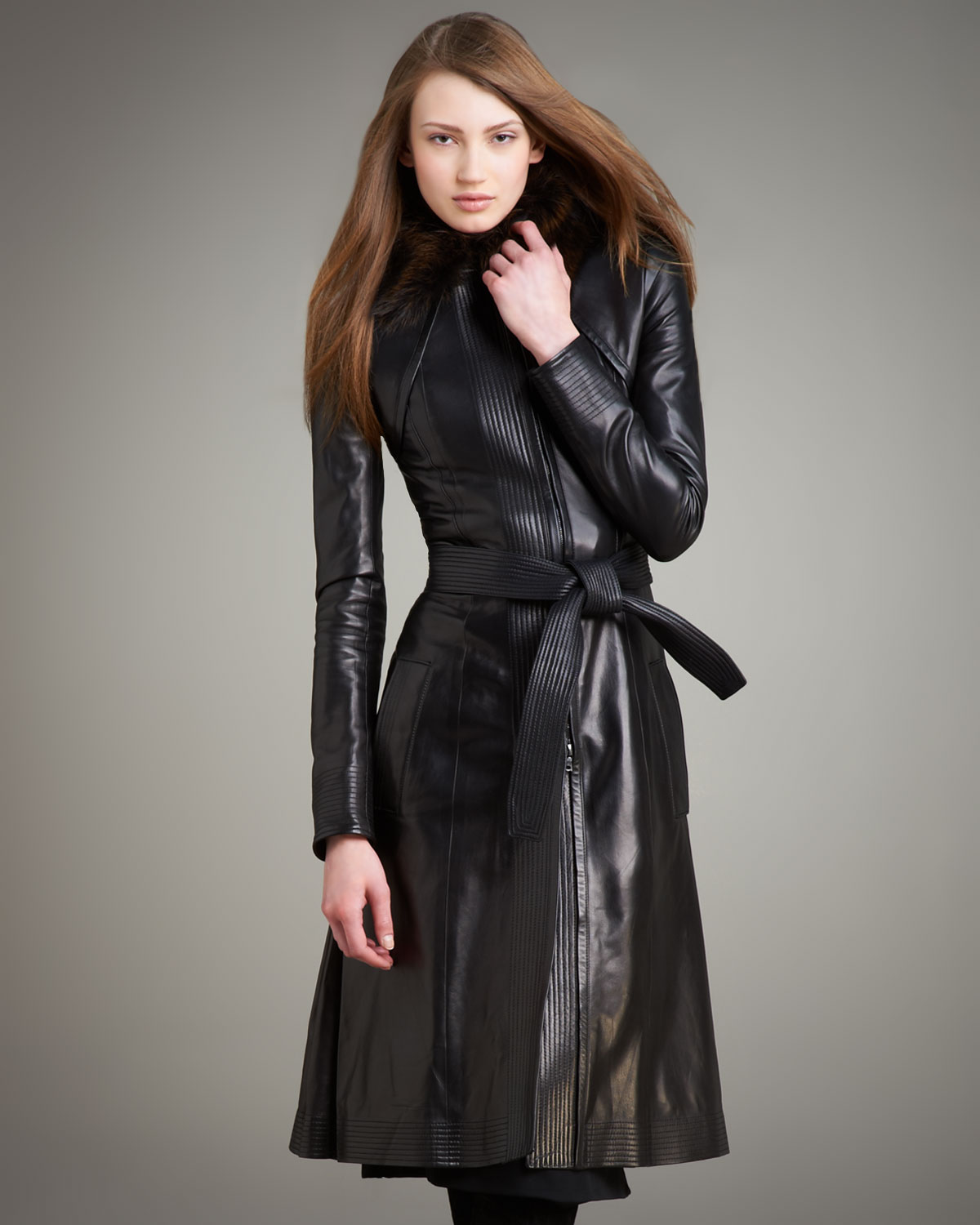 Lyst Narciso Rodriguez Fur Collar Long Leather Coat In Black