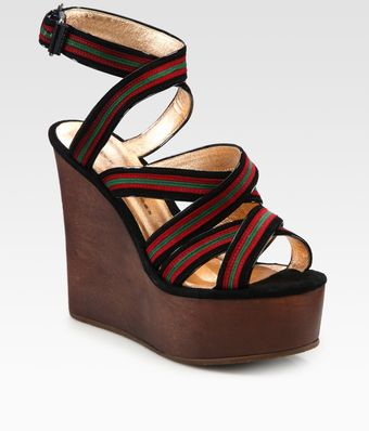 Marc By Marc Jacobs Suede & Leather Contrast Stripe Wedge Sandals - Lyst