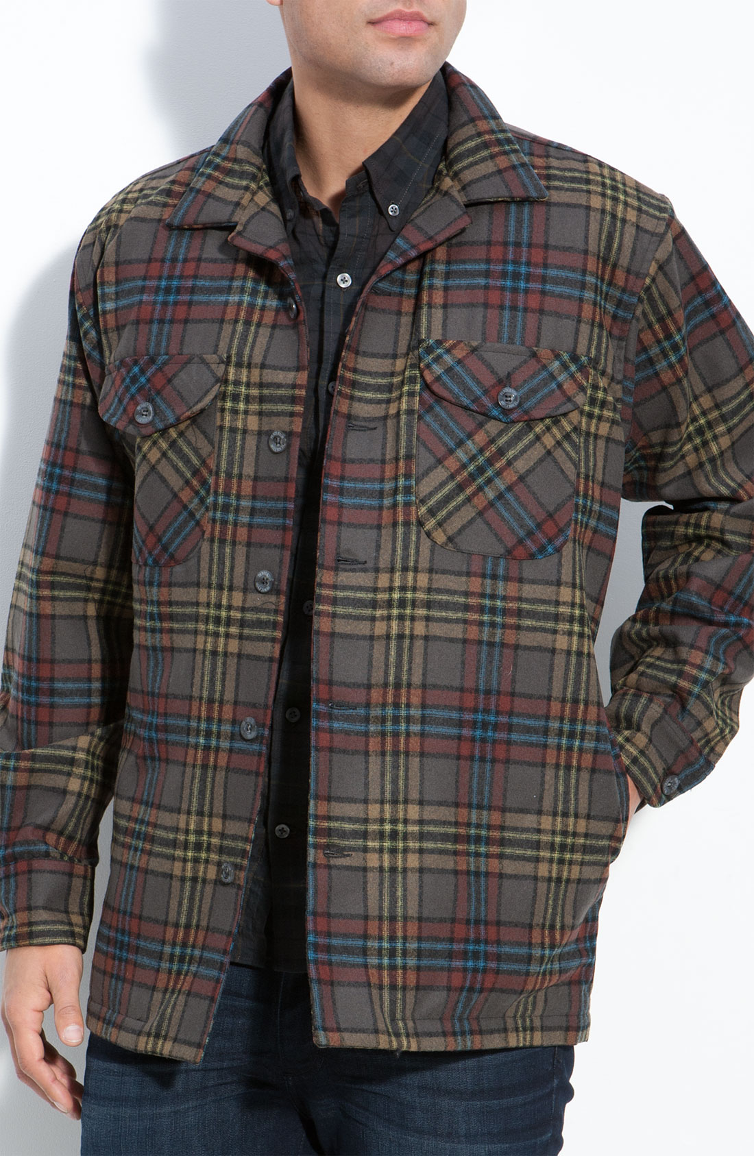 Pendleton Quilted Plaid Shirt Jacket In Brown For Men Lyst