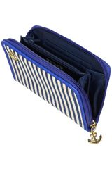 Topshop Stripe Canvas Zip Around Purse in Blue (navy blue) - Lyst