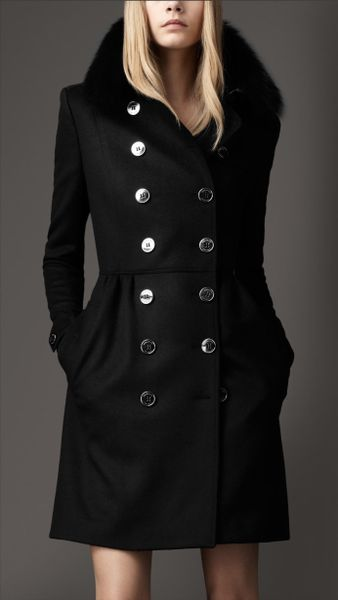 Burberry Fur Collar Trench Coat - Lyst