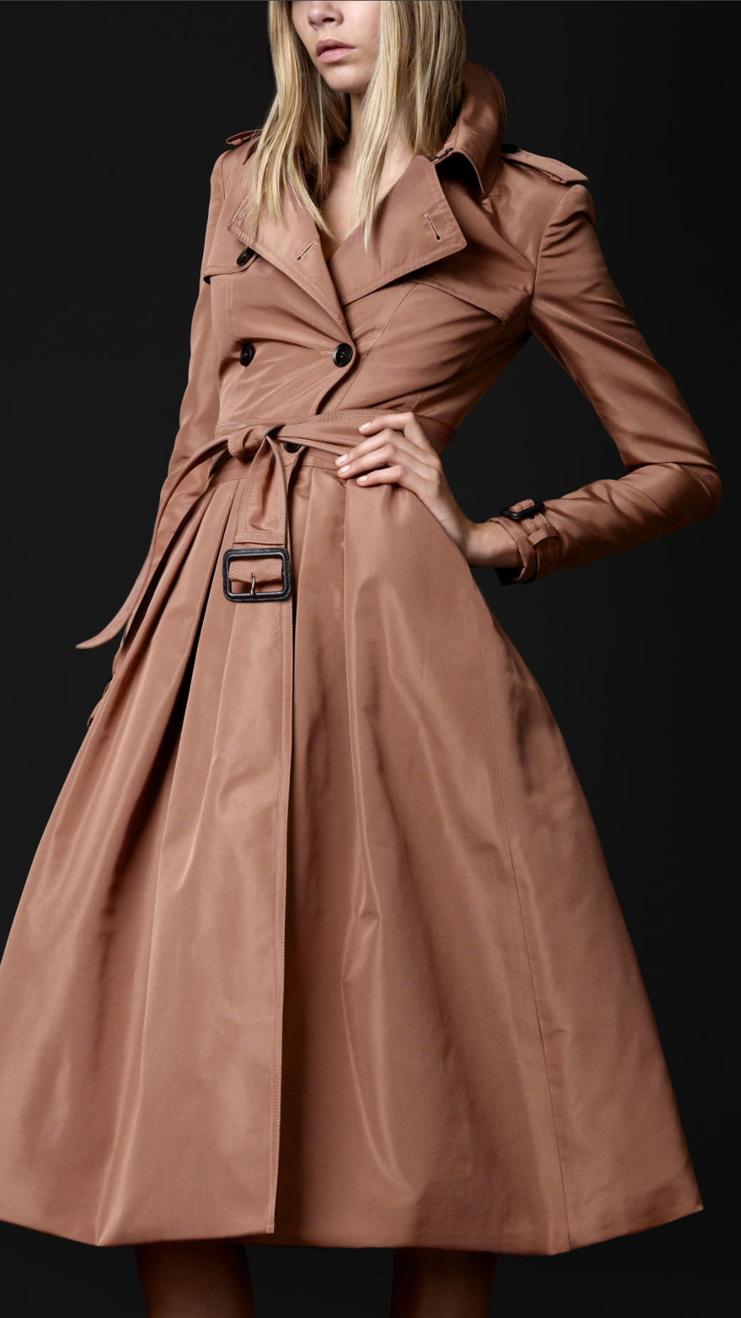 Burberry Prorsum Full Skirt Trench Coat In Pink Lyst