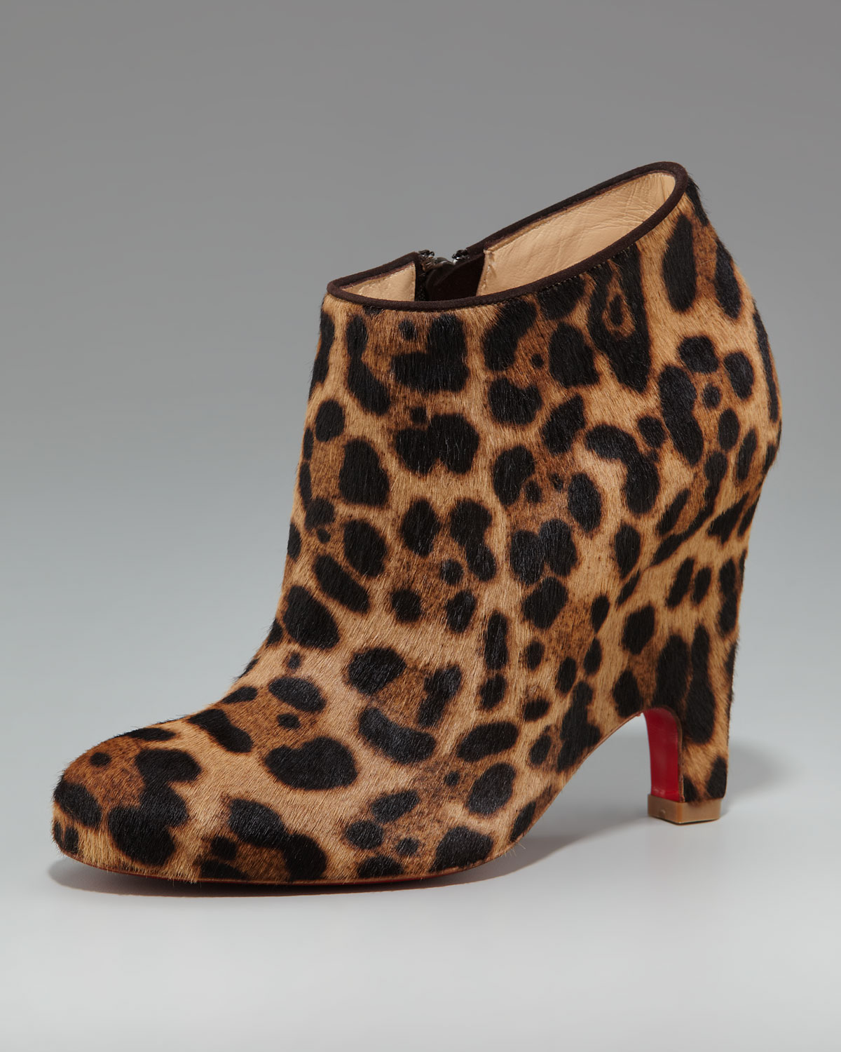 replica sneakers christian louboutin - christian louboutin round-toe ankle boots Brown ponyhair leopard ...