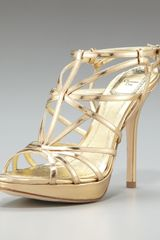 Dior Strappy Platform Metallic Sandal in Gold - Lyst