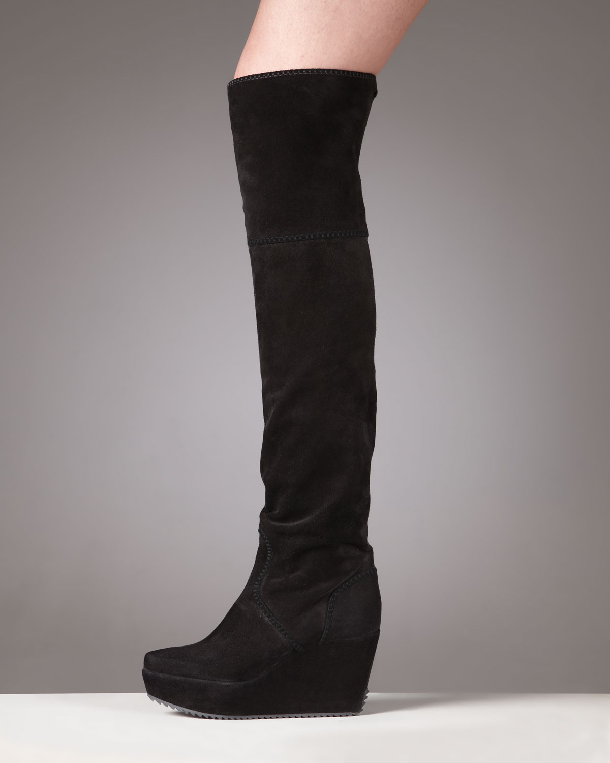 Donna Karan Suede Wedge Knee Boot In Black Lyst