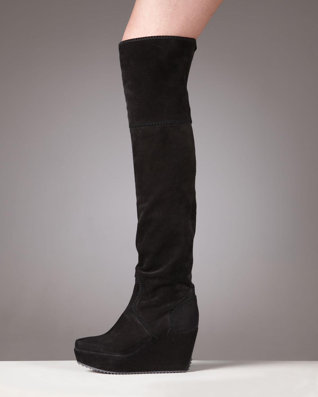 Donna Karan New York Suede Wedge Knee Boot In Black Lyst