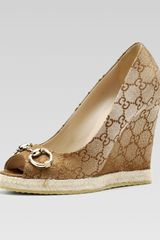 Gucci Charlotte Peep-Toe Wedge - Lyst