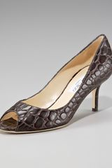 Jimmy Choo Croc-embossed Peep-toe Pump - Lyst