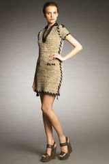 Lanvin Ribbon-trim Tweed Dress - Lyst