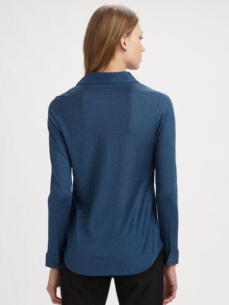 Eileen Fisher Silk Blend Button Down Shirt In Blue Teal