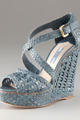 Prada Leather Woven Platform Wedge - Lyst