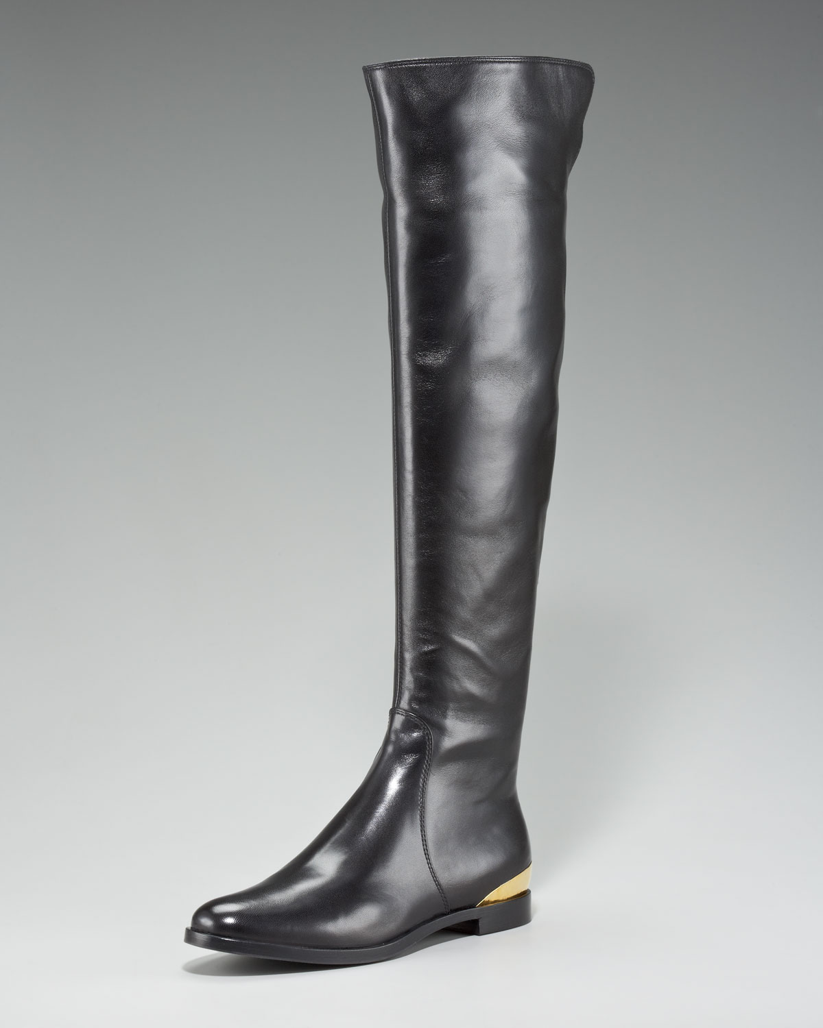 Sergio rossi Over-The-Knee Heel-Plate Riding Boot in Black | Lyst